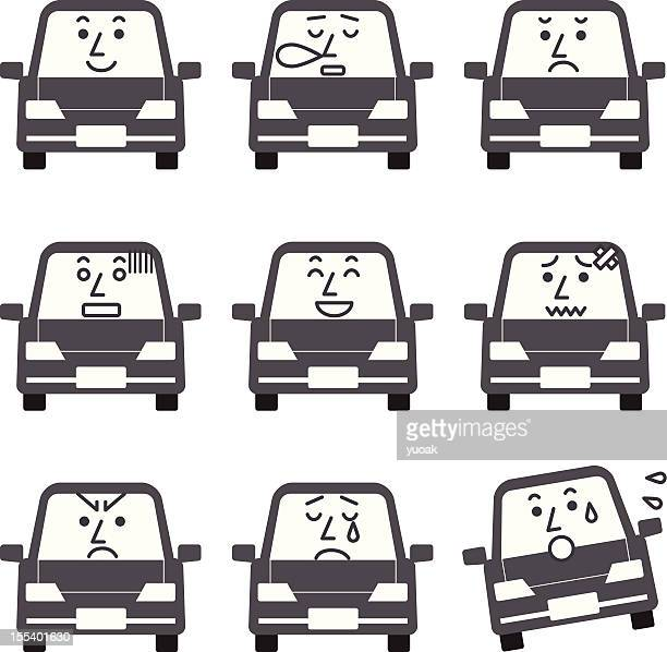 car characters - hatchback stock illustrations, clip art, cartoons, & icons