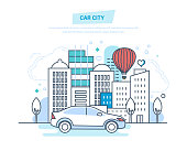 Car city. Machine, driving, ride in park