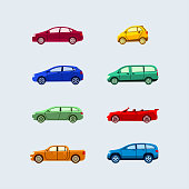 Car Classification - modern vector flat design icons set.