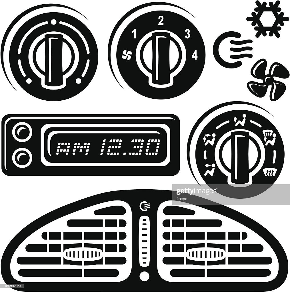 Car clock air vent icons vector art getty images car clock air vent icons vector art biocorpaavc Images