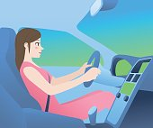 car cockpit and a woman driver, side view, vector illustration