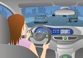car cockpit back view, a woman is driving a car through an urban road