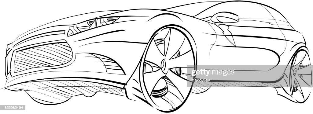 Car concept.Car sketch.Vector hand drawn.Autodesign