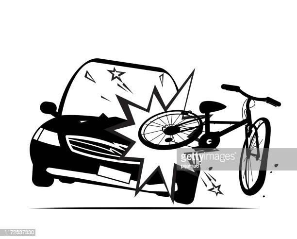ilustraciones, imágenes clip art, dibujos animados e iconos de stock de bicicleta de choque de coche, silueta - car crash