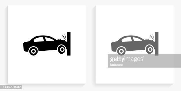 ilustraciones, imágenes clip art, dibujos animados e iconos de stock de auto crash icono cuadrado blanco y negro - car crash