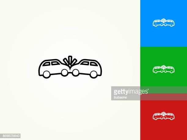 Car Crash Black Stroke Linear Icon