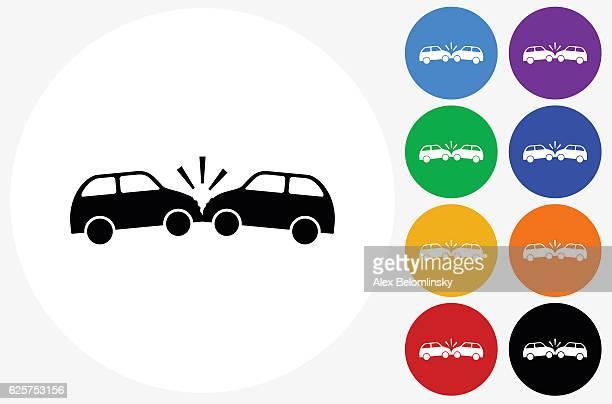 ilustraciones, imágenes clip art, dibujos animados e iconos de stock de car crash icon on flat color circle buttons - car crash