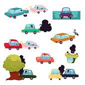 Car crash, road accident, vehicle collision set