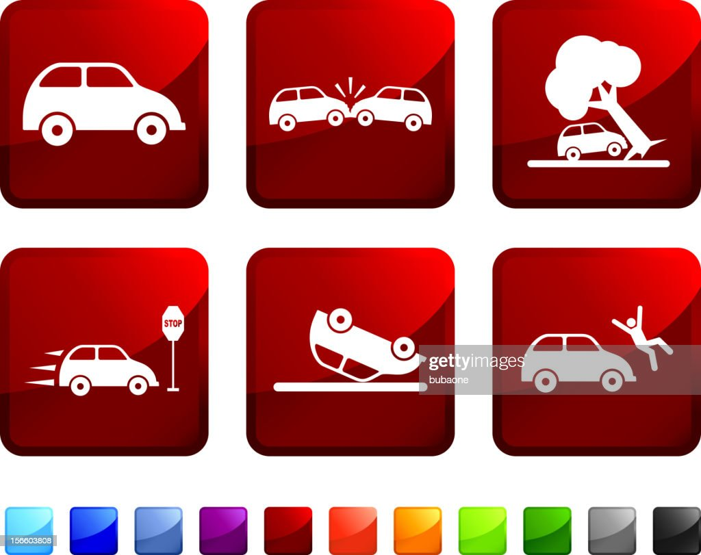 Car Crash royalty free vector icon set