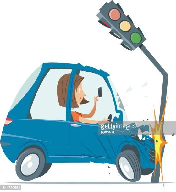 ilustraciones, imágenes clip art, dibujos animados e iconos de stock de accidente de tráfico - car crash