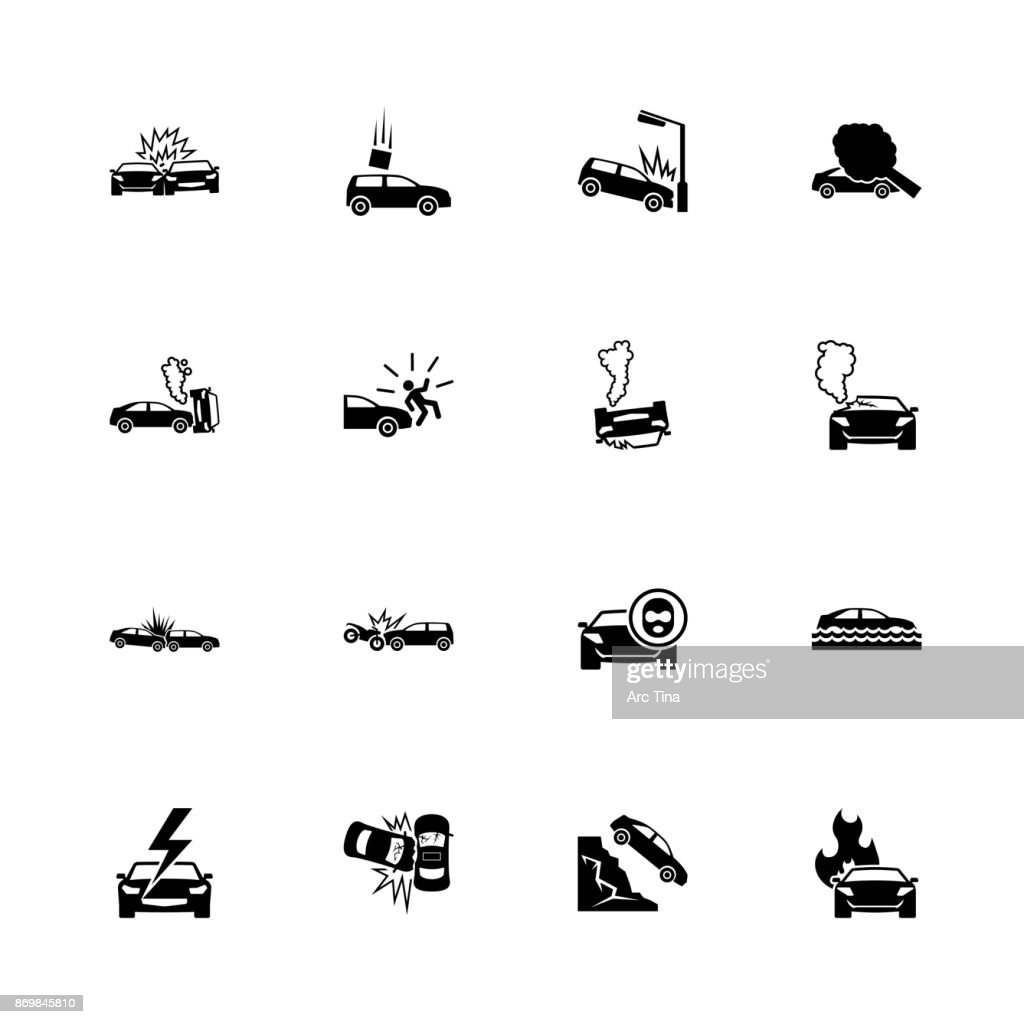 Car Crashes - Flat Vector Icons