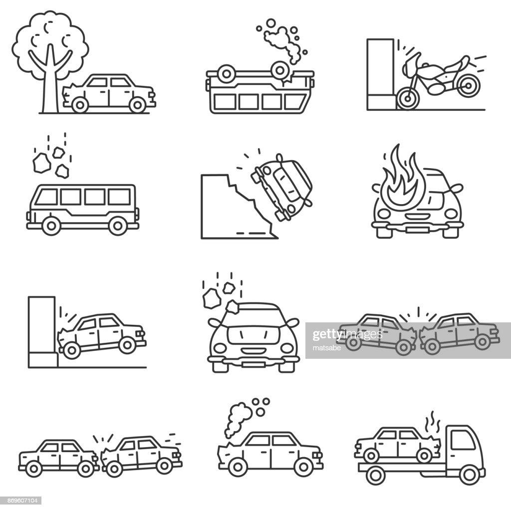 Car crashes icons set. Editable stroke