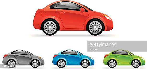 coupe car - compact car stock illustrations, clip art, cartoons, & icons