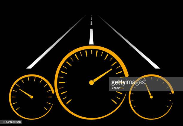car dashboard at night - road marking stock illustrations
