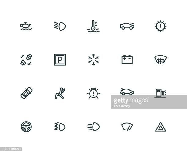 car dashboard icon set - thick line series - boot stock illustrations