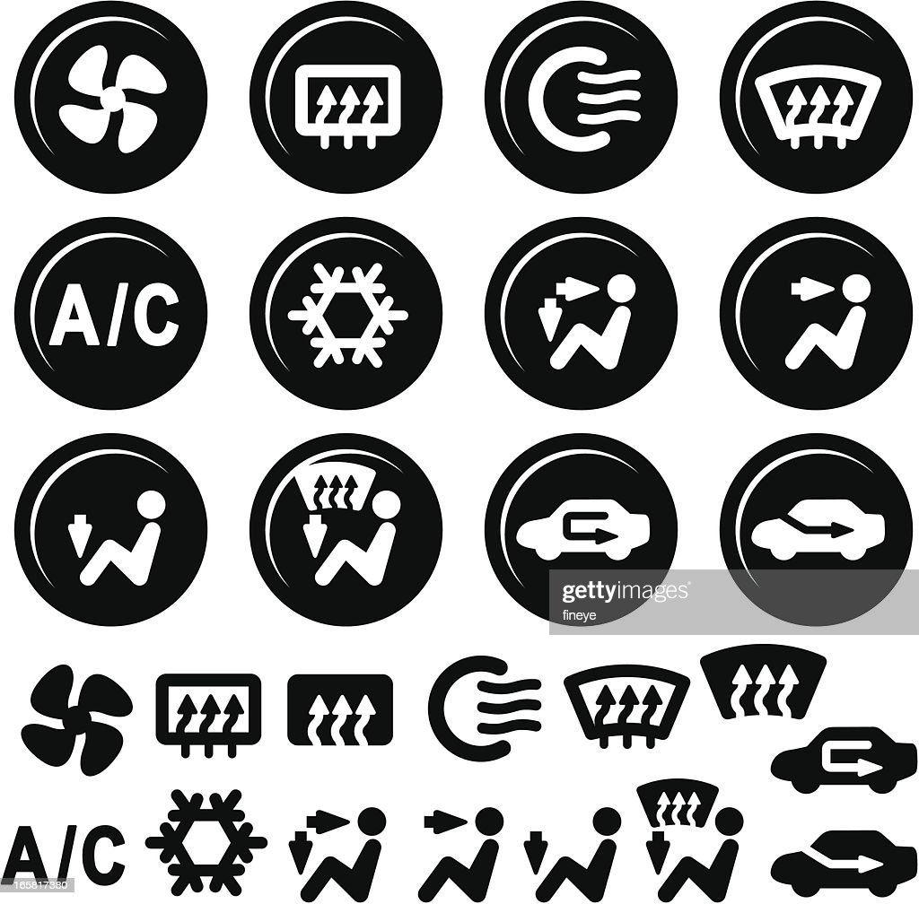 car dashboard icons air conditioning and vent vector art