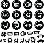 Car Dashboard Icons, Air Conditioning and Vent