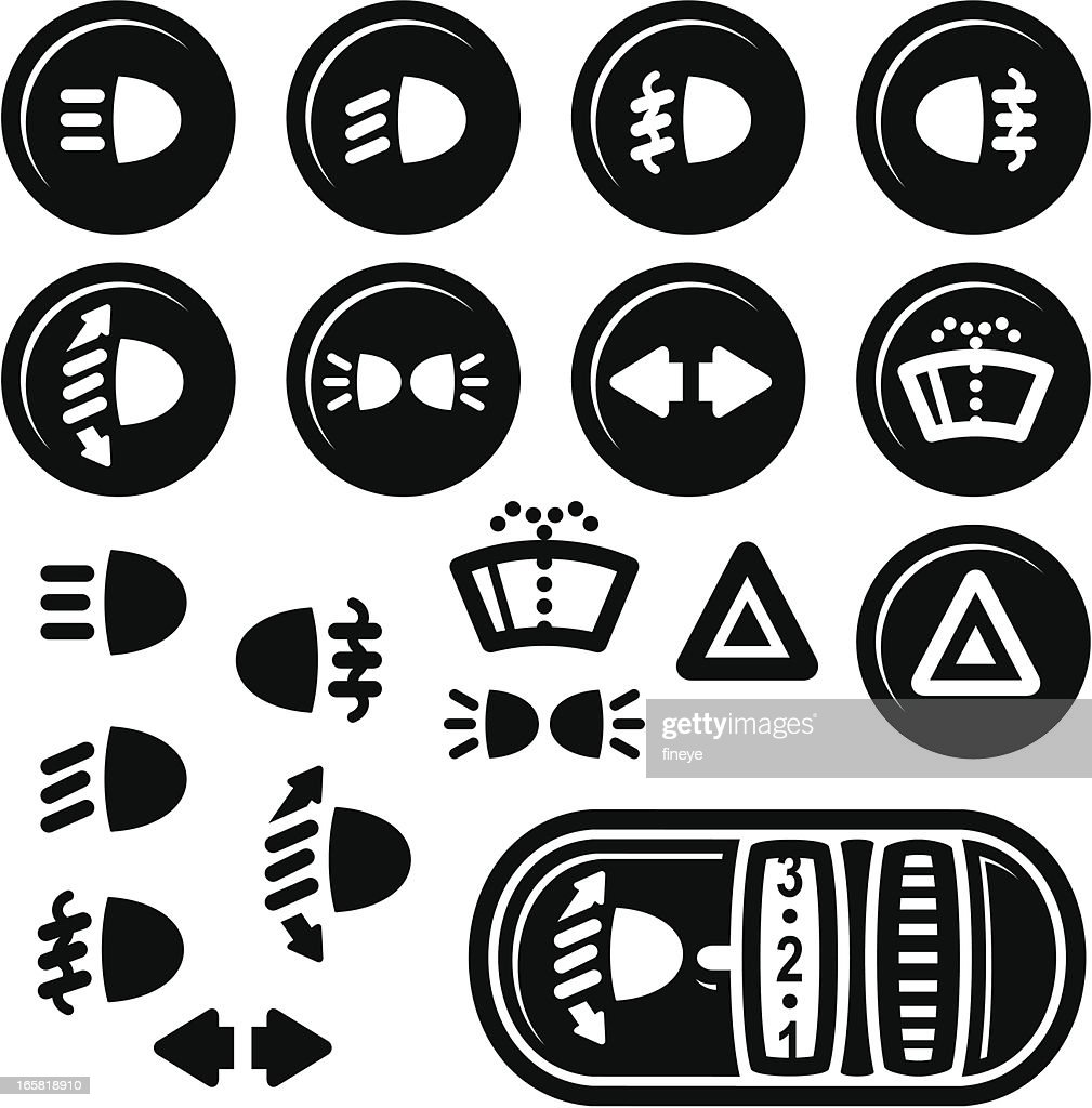 Car Dashboard Icons, Lights and Windshield Wash