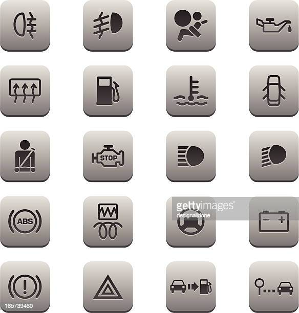 car dashboard icons (titanium series) - car battery stock illustrations, clip art, cartoons, & icons