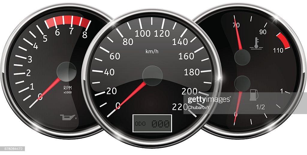 Car dashboard. Still position. Speedometer, tachometer, fuel gauge