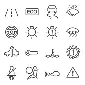 Car Dashboard Vector Line Icon Set. Contains such Icons as Seatbelt, Steering Wheel, Gear, ECO, Electronic Stability Programme and more. Expanded Stroke