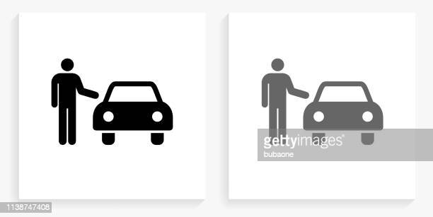 car dealer black and white square icon - car salesperson stock illustrations, clip art, cartoons, & icons