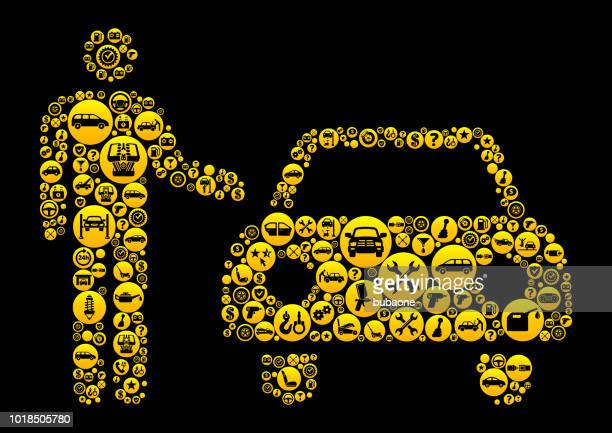 car dealer  cars and auto repair icon background - car ownership stock illustrations, clip art, cartoons, & icons