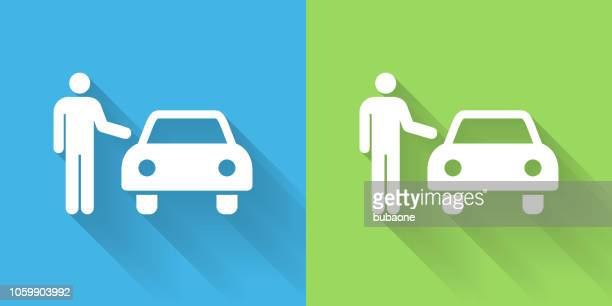 car dealer icon with long shadow - car salesperson stock illustrations, clip art, cartoons, & icons