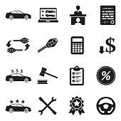 Car Dealer Icons. Black Flat Design. Vector Illustration.