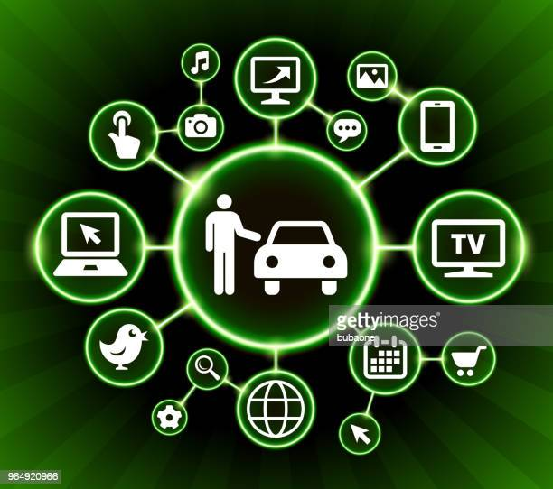car dealer internet communication technology dark buttons background - car salesperson stock illustrations, clip art, cartoons, & icons