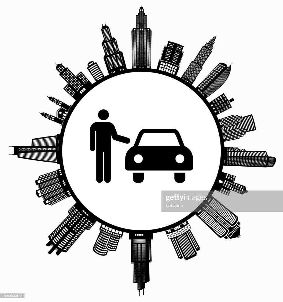 Car Dealer  on Modern Cityscape Skyline Background : Stock Illustration