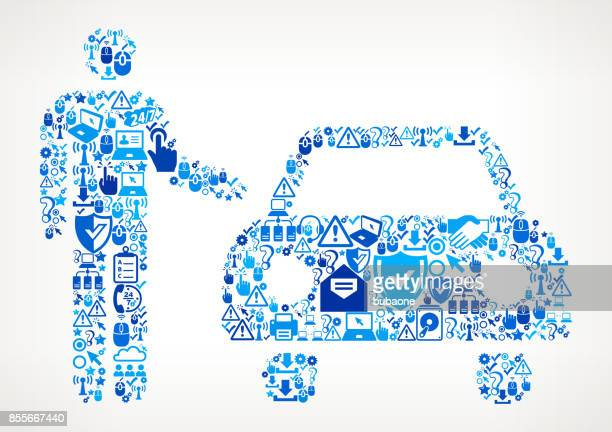 car dealer  tech support vector icon pattern - showroom stock illustrations, clip art, cartoons, & icons