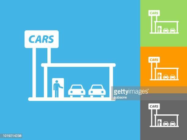 car dealership  flat icon on blue background - showroom stock illustrations, clip art, cartoons, & icons