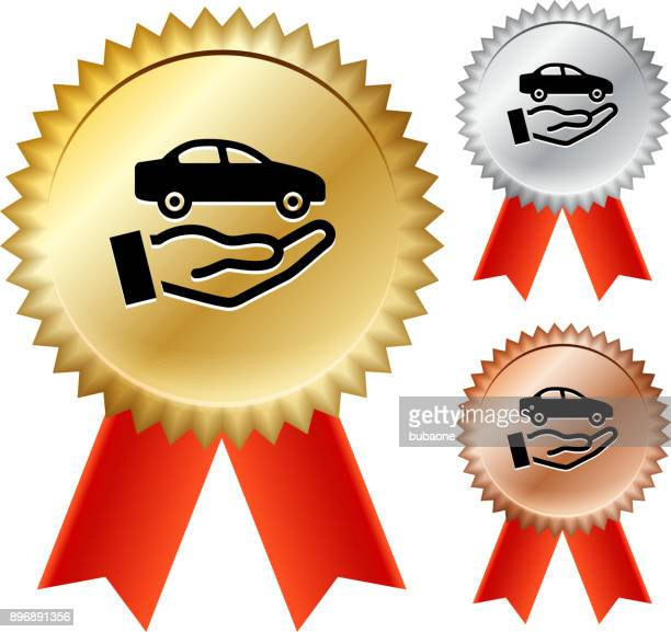 car dealership gold medal prize ribbons - showroom stock illustrations, clip art, cartoons, & icons
