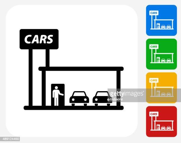 car dealership icon flat graphic design - showroom stock illustrations, clip art, cartoons, & icons