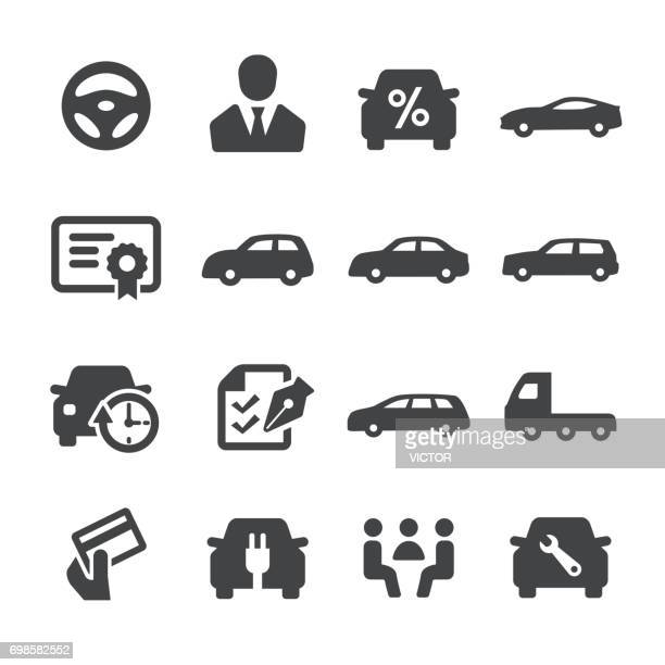 car dealership icons - acme series - car salesperson stock illustrations, clip art, cartoons, & icons