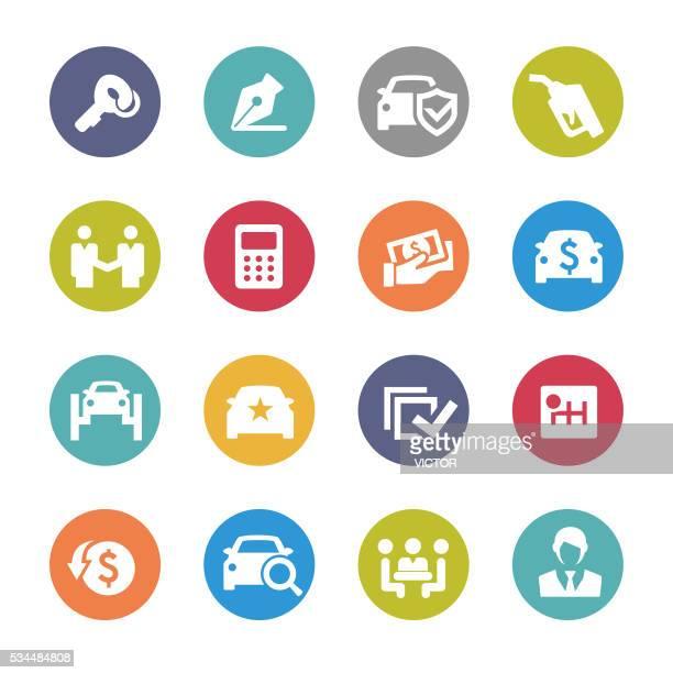 car dealership icons - circle series - fee stock illustrations