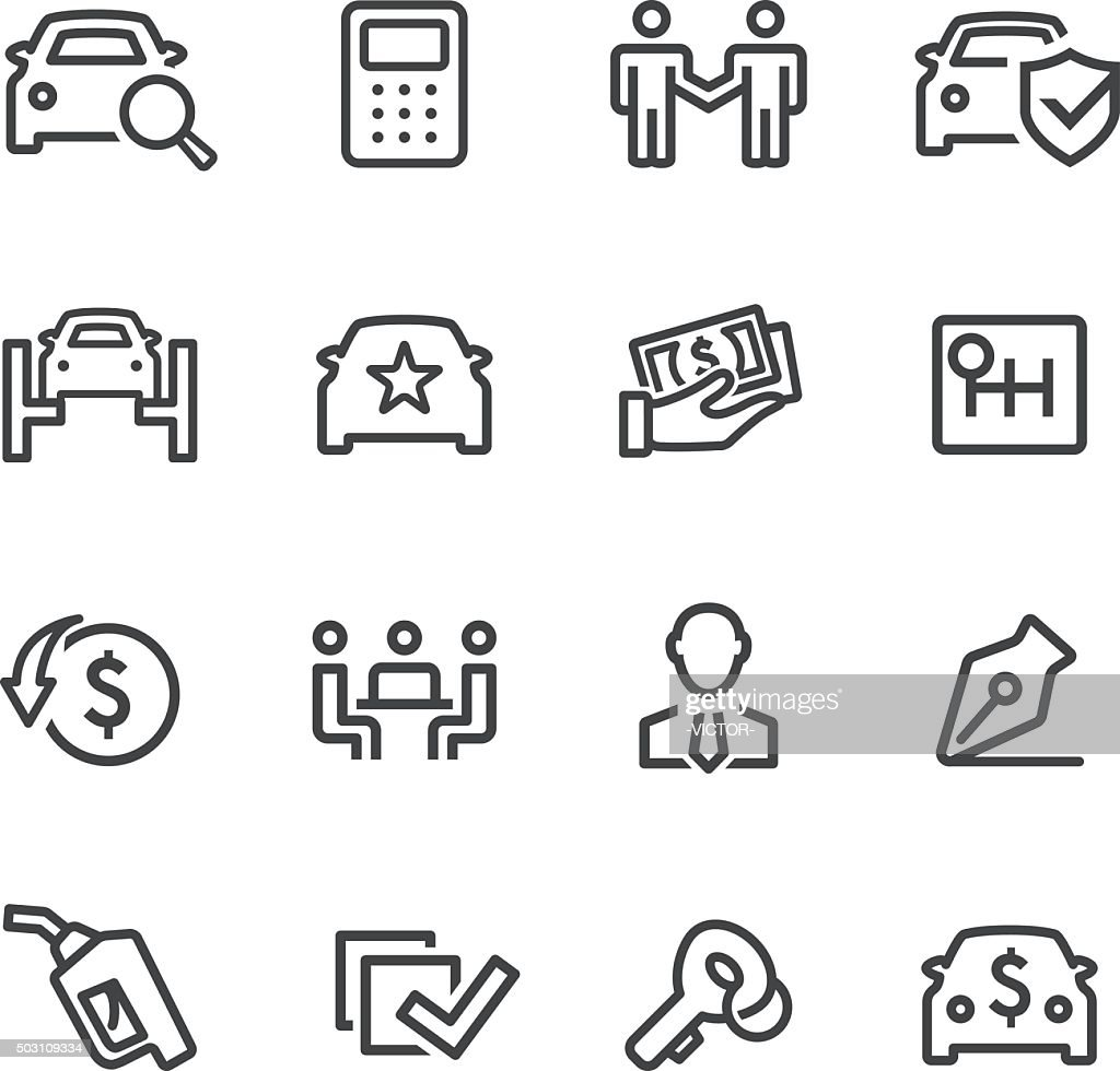 Car Dealership Icons - Line Series : Stock Illustration