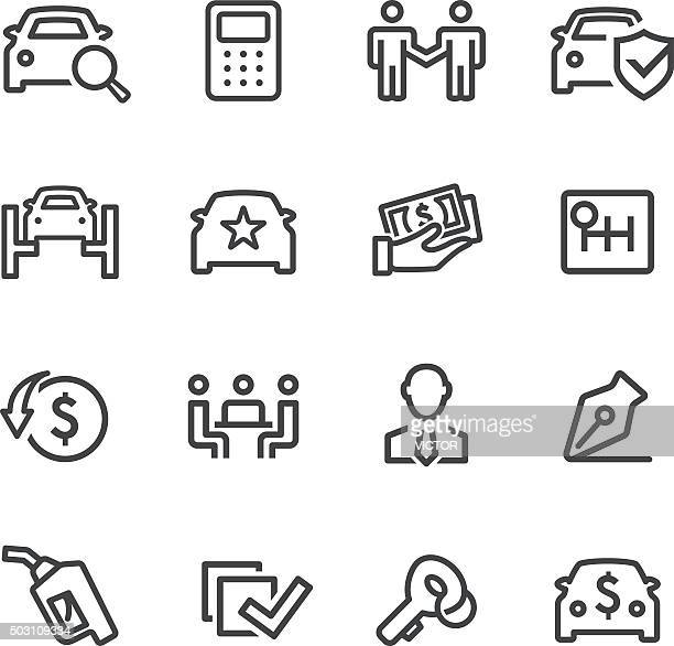 car dealership icons - line series - car salesperson stock illustrations, clip art, cartoons, & icons