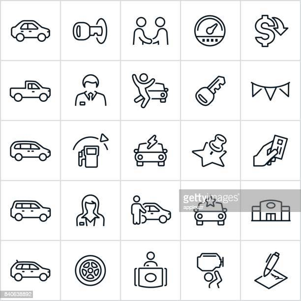 car dealership icons - consumerism stock illustrations