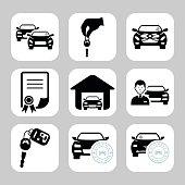 Car dealership icons. Vector symbols. Vector illustration