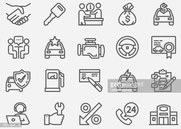 car dealership line icons - new stock illustrations