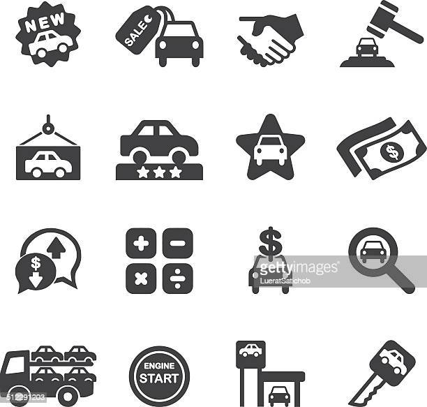 car dealership silhouette icons| eps10 - car salesperson stock illustrations, clip art, cartoons, & icons