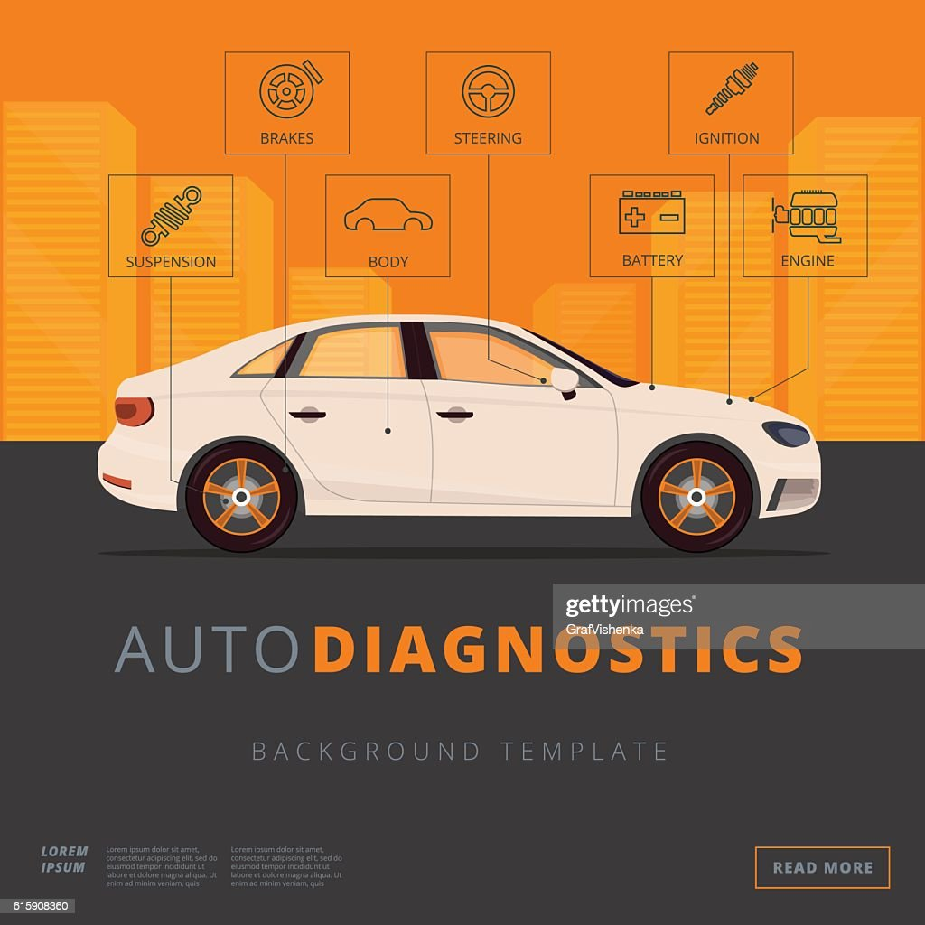 Car diagnostics background template. Auto inspection or garage