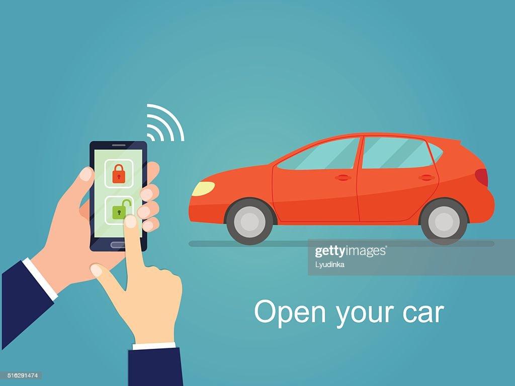 Car door lock and unlock by smartphone. Flat vector illustration