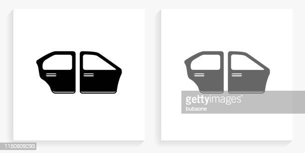 Car Doors Black and White Square Icon
