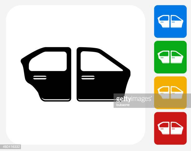 Car Doors Icon Flat Graphic Design