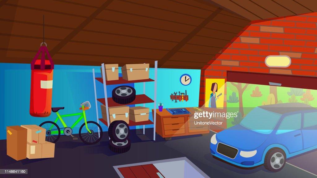 Car Drive in Garage Interior Storage Room for Auto
