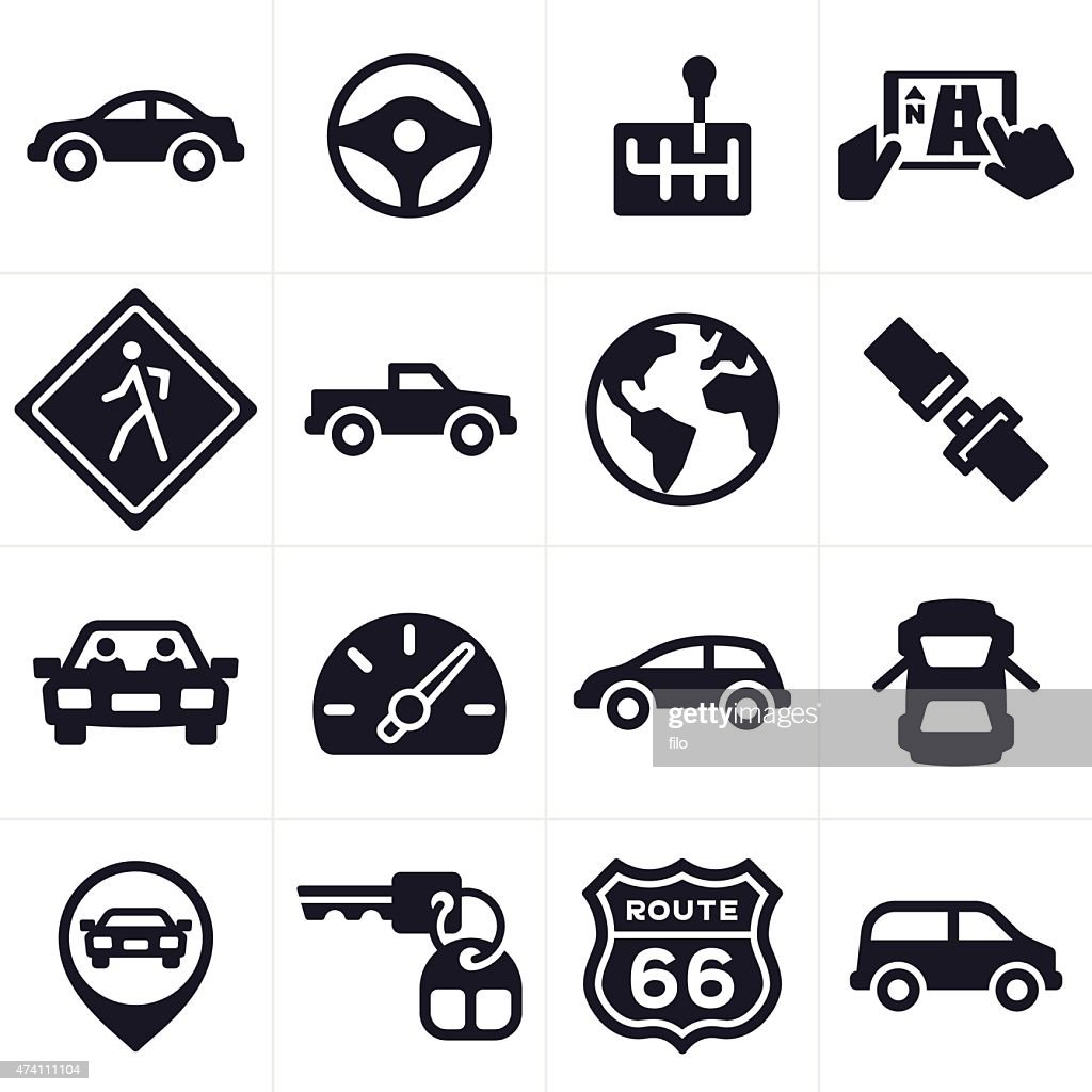 Car Driving And Vehicle Icons And Symbols Vector Art Getty Images