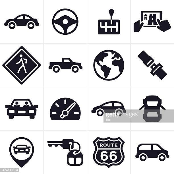 Car Driving and Vehicle Icons and Symbols
